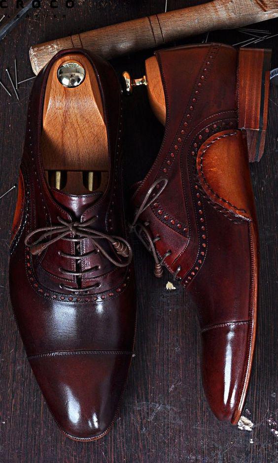 کفش چرم قهوه ای سوخته براق