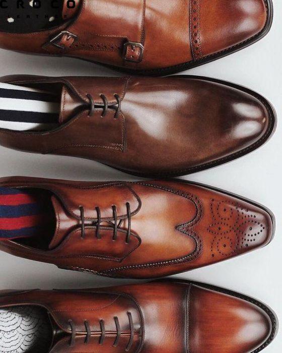 کفش چرم کلاسیک قهوه ای