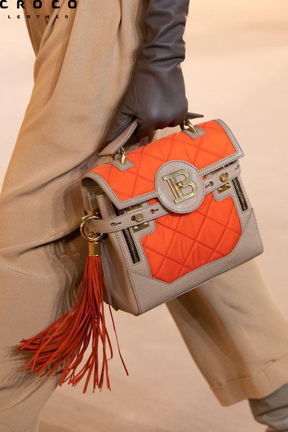 کیف دستی نارنجی طوسی