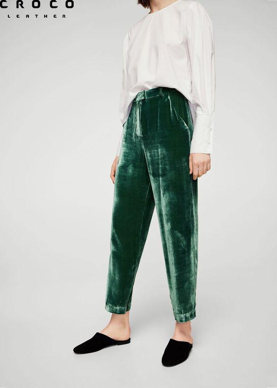 شلوار رنگ سبز مخمل